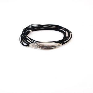 Leaf cord Silver Bracelet
