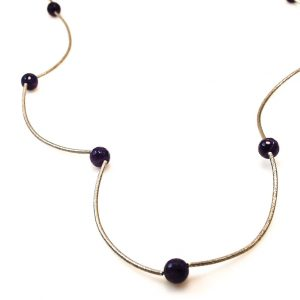 Long Silver Necklace with Amethyst