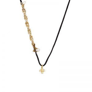 Gold  tiny cross pendant with zirgons & pearls