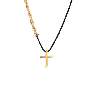 Gold  tiny cross pendant with pearls