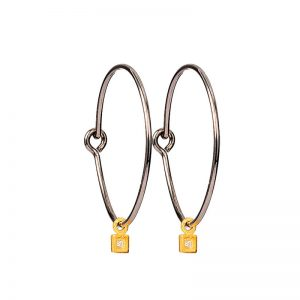 Silver and Gold  hoop earrings with zirgon