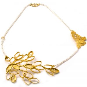 Handmade Silver Gold Plated  Necklace With Pearls