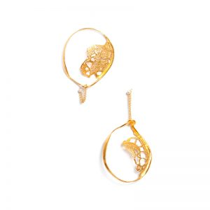 Handmade Gold Plated  Brass Earrings with Pearls