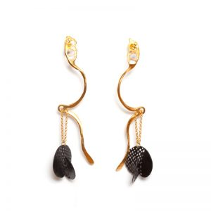Handmade Gold Plated & Rhodium  Brass Earrings